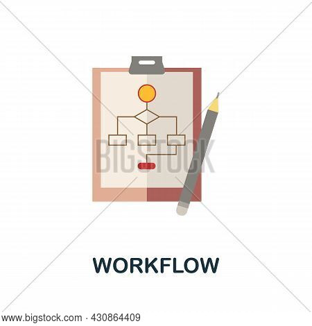 Workflow Icon. Flat Sign Element From Time Management Collection. Creative Workflow Icon For Web Des