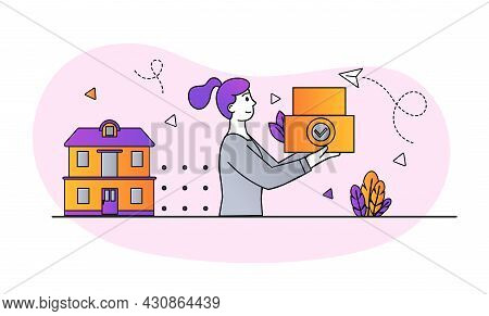 Delivery Service Concept. Woman Carries Order To Client House. Convenient And Safe Shopping On Inter