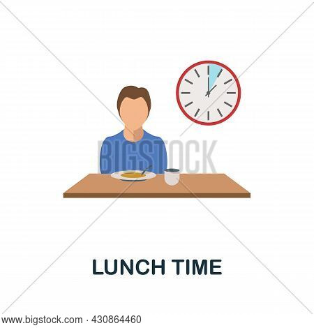 Lunch Time Icon. Flat Sign Element From Time Management Collection. Creative Lunch Time Icon For Web
