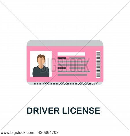 Driver License Icon. Flat Sign Element From Transport Collection. Creative Driver License Icon For W