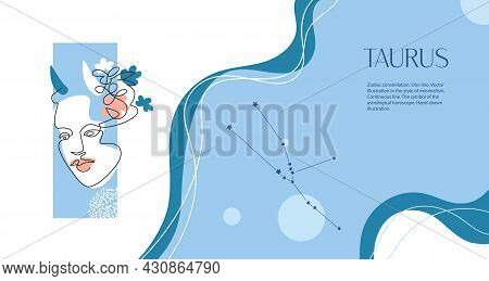Zodiac Background. Taurus Constellation. The Element Of Earth. Horizontal Banner. One Line.