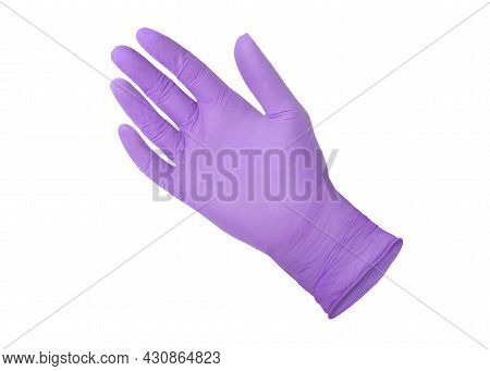 Medical Nitrile Gloves.two Violet Surgical Gloves Isolated On White Background With Hands. Rubber Gl