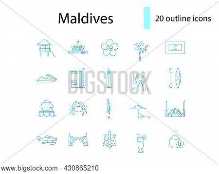 Maldives Culture Outline Icons Set. Tourism Concept. Tropical Resort. Famous Water Bungalows. Marine
