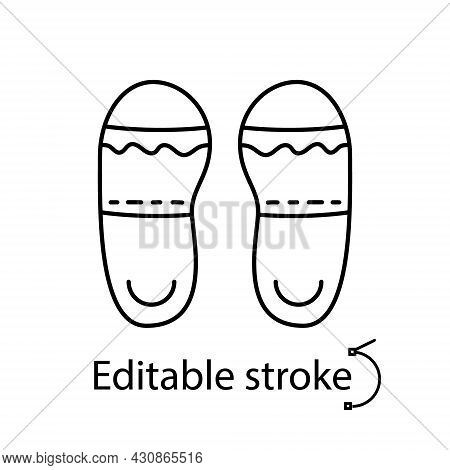 Taiwan Slippers Outline Icon. Taiwanese Walking Shoes. Oriental Footwear. Asian Item. Customizable L