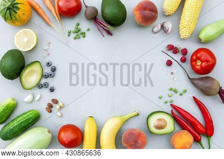 Flat Lay With Different Food, Organic Vegetables, Bio Fruits, Berries, Nuts, Spices, Herbs. Copy Spa