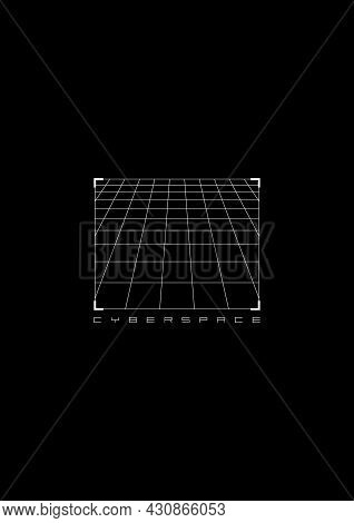 Cyberspace T-shirt And Apparel Design With A Perspective Grid In Hud Style Square Frame. Cyber Cultu
