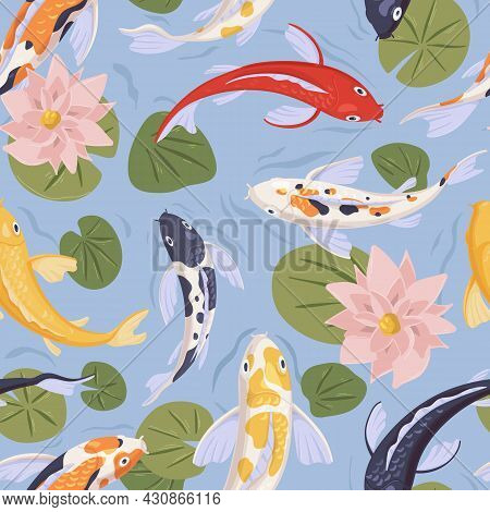 Seamless Japanese Pattern With Asian Koi Fishes Swimming In Water. Endless Repeatable Background Wit