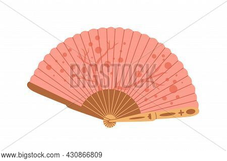 Japanese Folding Paper Hand Fan. Asian Handheld Item For Cooling. Japan Traditional Accessory With O