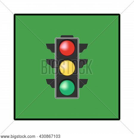 Stoplight. Icon Traffic Light On Green Square.. Symbol Regulate Movement Safety And Warning. Electri