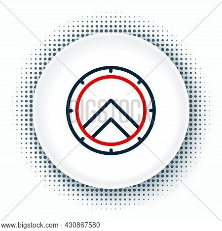 Line Greek Shield With Greek Ornament Icon Isolated On White Background. Colorful Outline Concept. V
