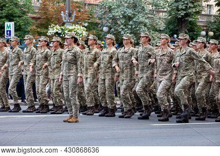 Ukraine, Kyiv - August 18, 2021: Military Women And Girls In Uniform. Ukrainian Military March In Th