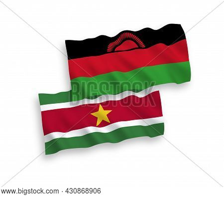National Fabric Wave Flags Of Malawi And Republic Of Suriname Isolated On White Background. 1 To 2 P