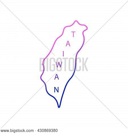 Taiwan Island Outline Icon. Geography. Oriental Custom. Asian Item. Purple Gradient Symbol. Isolated