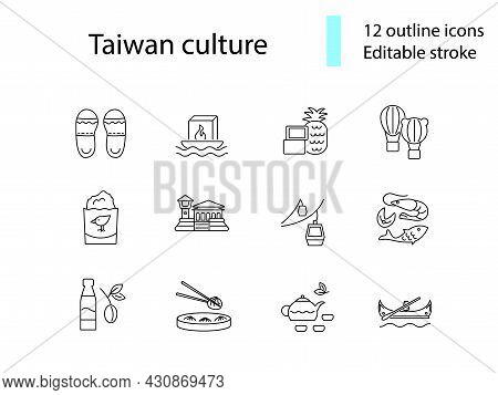 Culture Of Taiwan Outline Icons Set. Taiwanese Items. Elements For Travel Agent And Guide. Customiza