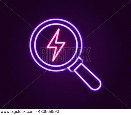 Glowing Neon Line Magnifying Glass With Lightning Bolt Icon Isolated On Black Background. Flash Sign