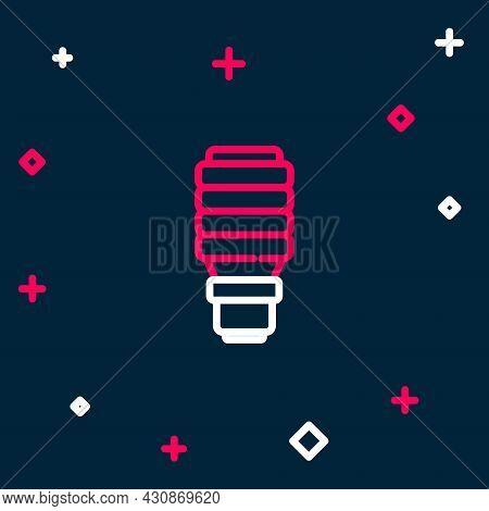 Line Led Light Bulb Icon Isolated On Blue Background. Economical Led Illuminated Lightbulb. Save Ene