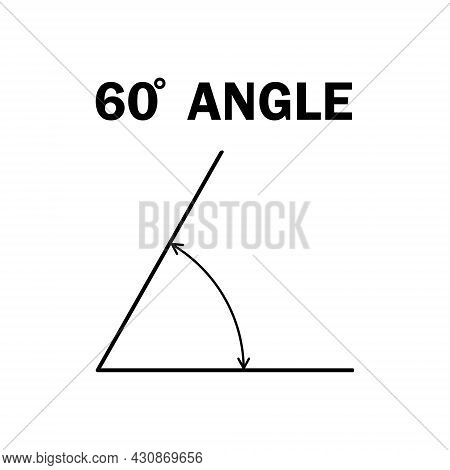 60 Degree Angle. Geometric Mathematical Sixty Degrees Angle With Arrow Vector Icon Isolated On White