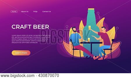 Craft Beer Landing Page Template. Two Men With Glasses Drinking Craft Beer. Giant Bottle Background.