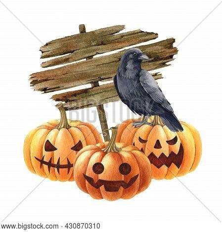 Pumpkin And Black Raven Halloween Illustration. Blackcrow Bird, Pumpkins, Wooden Banner Image. Hallo