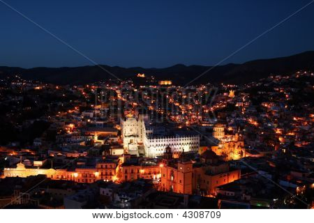 Beautiful City Guanajuato In Mexico By Night