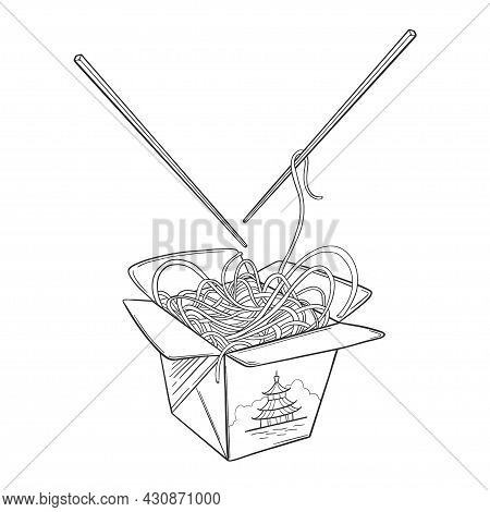 Wok Vector Drawing Sketch. Isolated Chinese Box And Chopsticks With Noodles And Vegetables. Hand Dra