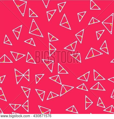 Line Angle Bisector Of A Triangle Icon Isolated Seamless Pattern On Red Background. Vector