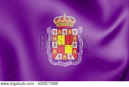 3d Flag Of Jaen, Spain. 3d Illustration.
