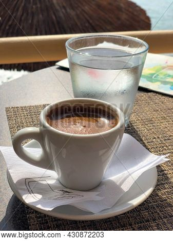 A Cup Of Oriental Coffee On The Island Of Crete In Greece