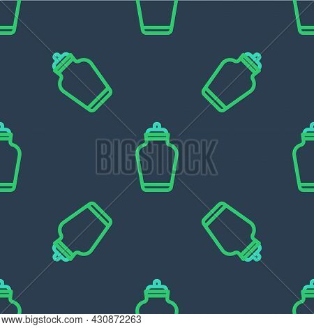 Line Funeral Urn Icon Isolated Seamless Pattern On Blue Background. Cremation And Burial Containers,