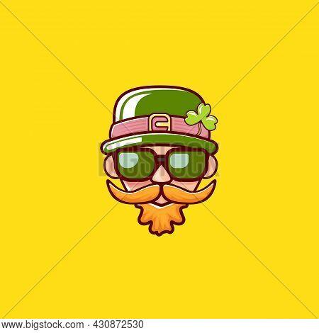 Saint Patricks Day Greeting Card. Irish Leprechaun With Green Hat, Red Mustache, Red Beard And Funky