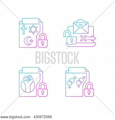 Data Confidentiality Gradient Linear Vector Icons Set. Religious Beliefs Info. Unencrypted Email. Se