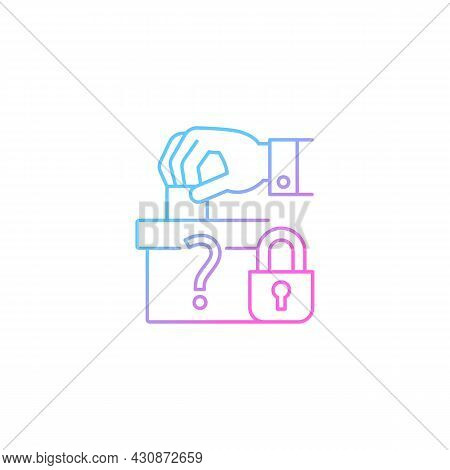 Protect Political Affiliation Gradient Linear Vector Icon. Electoral Process Safeguarding. Voter Cho