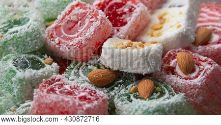Turkish Delight In Red, White And Green Colors Close-up. Travel And Tourism Concep