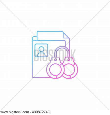 Sealing Criminal Records Gradient Linear Vector Icon. Sensitive Personal Data. Criminal Background C