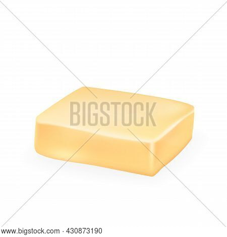 Creamy Fat Butter Spread Block Eatery Food Vector. Butter Milk Grocery Product For Prepare Sandwich