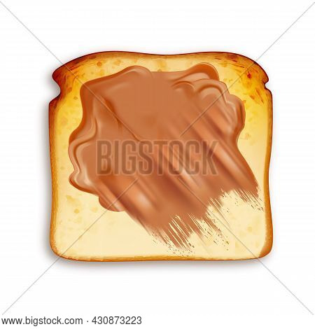 Toast Fried Bread With Chocolate Butter Vector. Toasted Sandwich Slice With Peanut Butter, Crunchy D