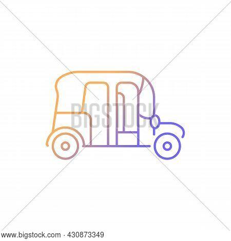Auto Rickshaw Gradient Linear Vector Icon. Three-wheeler Taxi. Passenger Car Equivalent. Thailand Tu