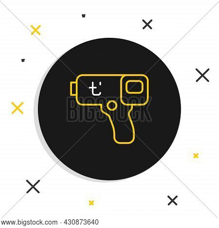 Line Digital Contactless Thermometer With Infrared Light Icon Isolated On White Background. Colorful