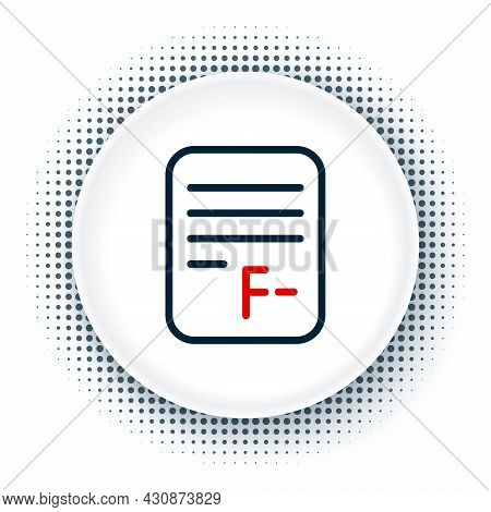 Line Exam Paper With Incorrect Answers Survey Icon Isolated On White Background. Bad Mark Of Test Re