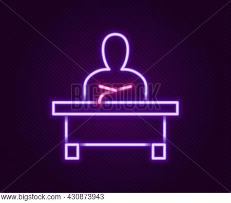 Glowing Neon Line Schoolboy Sitting At Desk Icon Isolated On Black Background. Colorful Outline Conc