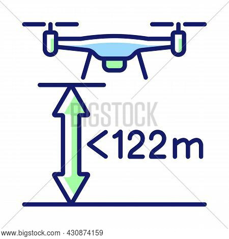 Max Flight Height Rgb Color Manual Label Icon. Altitude Limit For Drone. Maximum Allowable Altitude.