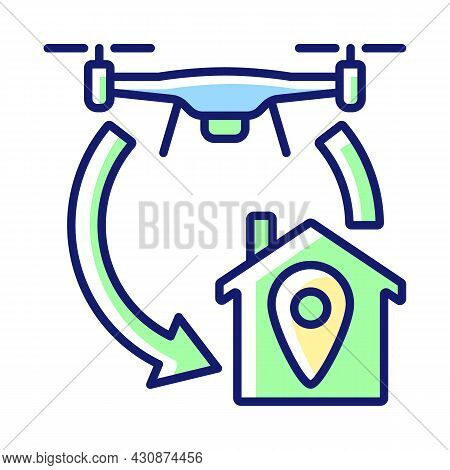 Return To Home Function Rgb Color Manual Label Icon. Autonomous Flight Feature. Flying Backwards To