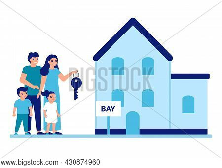 Family Buy Or Rent House Property Estate. Mother, Father And Children Moving To New Place, Private B