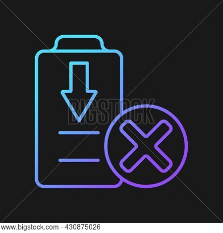 Dont Fully Drain Batteries Gradient Vector Manual Label Icon For Dark Theme. Damage Risk. Thin Line