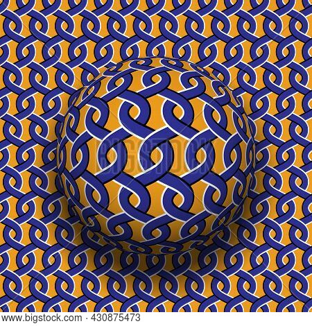 Rotating Sphere On Moving Surface With Interlacement Pattern. Vector Blue Orange Optical Illusion De