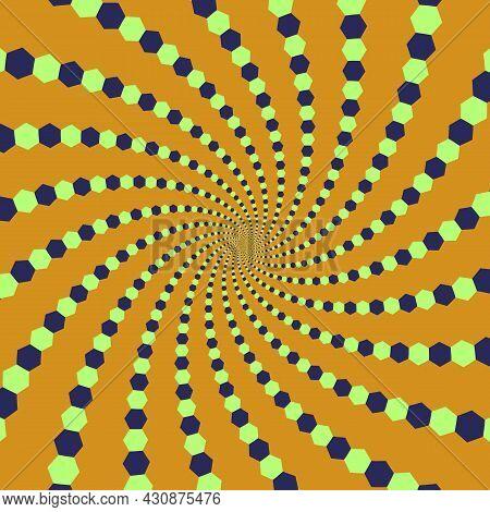 Trippy Optical Illusion Vector Background. Green Blue Orange Spiral Hexagons Pattern.