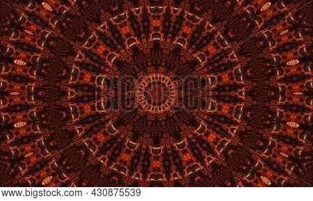 Ginger Kaleidoscope. Groovy Wallpaper. Ginger Repeat Batik. Black Geometric Colour. Mystic Psychedel