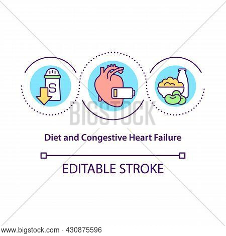 Diet And Congestive Heart Failure Concept Icon. Healthy Menu Abstract Idea Thin Line Illustration. B