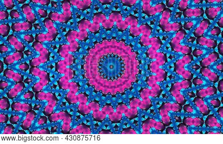 Cyan Flower On Pink Star Background. Detailed Wallpaper With Many Circles, Squares And Decorative Fl