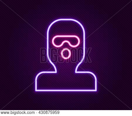 Glowing Neon Line Thief Mask Icon Isolated On Black Background. Bandit Mask, Criminal Man. Colorful